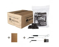 Kokosnootschaal briketten 1x 10kg + gratis aanmaakblokjes + gratis gereedschapset/3