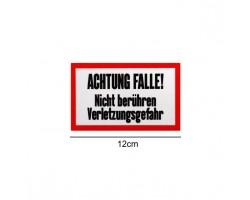 """Signaalbord aluminium """"Achtung Falle"""" maat 12 x 7,5 cm - 1mm dik - ProLoo"""