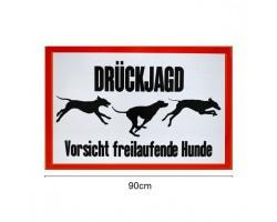 "Signaalbord aluminium ""Drückjagd – Vorsicht freilaufende Hunde"" maat 60 x 90 cm - 3mm dik - ProLoo"
